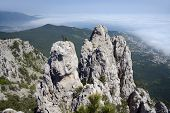 View from Ai-Petri mountain over cliff and Black Sea, Crimea, Ukraine