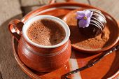 image of cake-ball  - hot chocolate with chocolate ball - JPG