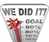 image of thermometer  - We Did It words on thermometer tallying 100 percent goal attained and reached for a fundraiser - JPG