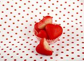 Marzipan candy heart on retro Vintage polka dot napkin background