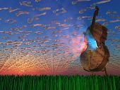 foto of cello  - Cello emits light with clouds formed as musical notations - JPG