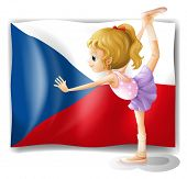 Illustration of a girl performing ballet in front of the Czech Republic flag on a white background