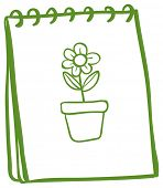 Illustration of a notebook with a drawing of a flower in a pot on a white background