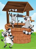 Illustration of the three lemurs at the man-made well