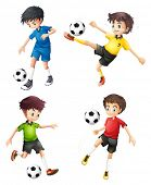 picture of spherical  - Illustration of the four soccer players in different uniforms on a white background - JPG