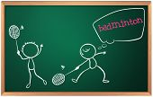 stock photo of game-cock  - Illustration of a blackboard with a drawing of two boys playing badminton on a white background - JPG