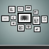 stock photo of wall painting  - Photo frames on wall - JPG