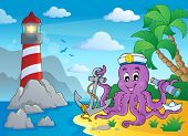 Image with octopus sailor 3 - eps10 vector illustration.