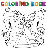 stock photo of inflatable slide  - Coloring book kids play theme 5  - JPG