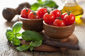 picture of cherries  - cherry tomatoes and basil - JPG