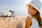 stock photo of recreational vehicles  - Travel with camper - JPG