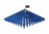 Pyramid of abstract people with Norway flag illustration