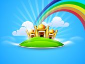 pic of kaba  - Golden Mosque and Masjid in the sky on rainbow and clouds background - JPG