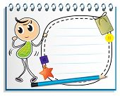 Illustration of a notebook with a kid dancing at the cover page on a white background