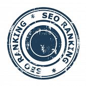 SEO ranking concept stamp isolated on a white background.