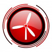 windmill red circle web glossy icon on white background