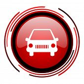 car red circle web glossy icon on white background