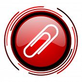 paper clip red circle web glossy icon on white background