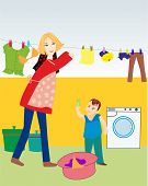 stock photo of wet pants  - composition showing a woman and her son during homework - JPG