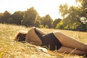 Woman Sunbathing On The Heath