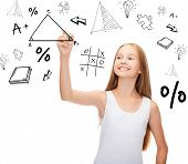 education and new technology concept - smiling teenage girl in blank white shirt drawing triangle on