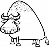 foto of aurochs  - Black and White Cartoon Illustration of Funny Bull or Buffalo for Coloring Book - JPG