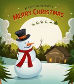 stock photo of santa sleigh  - Illustration of a cartoon winter snowman on christmas holidays background with santa claus character driving sleigh and his reindeer and rising moon - JPG