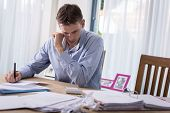 stock photo of eviction  - Man with financial problems - JPG