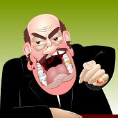pic of gold tooth  - Bald mustached angry chief shouts very much - JPG