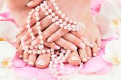 foto of pedicure  - beautiful manicure and pedicure - JPG