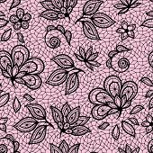 Old lace seamless pattern, ornamental flowers. Vector texture.