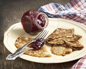 image of crepes  - Crepes With Raspberry Jam on plate - JPG