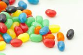 stock photo of jelly beans  - Colorful jelly beans on a white background - JPG
