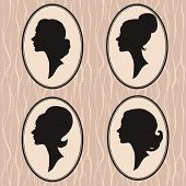 picture of cameos  - four vintage silhouette of beautiful female heads - JPG