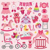 pic of baby doll  - A set of cute items for little Baby girl - JPG