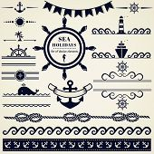 stock photo of navy anchor  - Collection of various nautical elements for design and page decoration - JPG