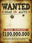 stock photo of cash cow  - Illustration of a vintage old wanted placard poster template with dead or alive inscription cash - JPG