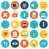 stock photo of medical  - Flat icons set of medical tools and healthcare equipment science research and health treatment service - JPG