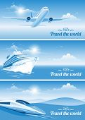 stock photo of float-plane  - Travel banners on transportation theme - JPG