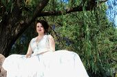 pic of weeping willow tree  - Young bride sitting on a bench under a weeping willow tree.