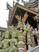 picture of cult  - Wooden temple cult beautiful architectural structure east - JPG