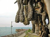 foto of cult  - Wooden temple cult beautiful architectural structure east - JPG