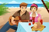 image of serenade  - A vector illustration of happy couple having picnic on the beach - JPG