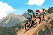 stock photo of biker  - A vector illustration of mountain bikers in the mountain - JPG