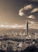 Landmark Of Taipei Skyscraper With Golden Sunset poster