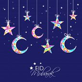 picture of ramazan mubarak card  - Eid Mubarak celebrations greeting card design with hanging colorful stars and moon on blue background - JPG