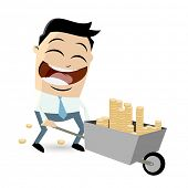 picture of wheelbarrow  - businessman with money in wheelbarrow - JPG