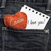 stock photo of heartwarming  - Cousin I love you - JPG