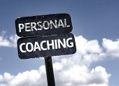 stock photo of self assessment  - Personal Coaching sign with clouds and sky background - JPG