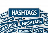 pic of hashtag  - Hashtags written on multiple blue road sign - JPG
